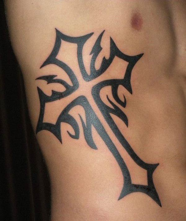 Elegant broad black lined tribal cross tattoo ideas on side for Boys