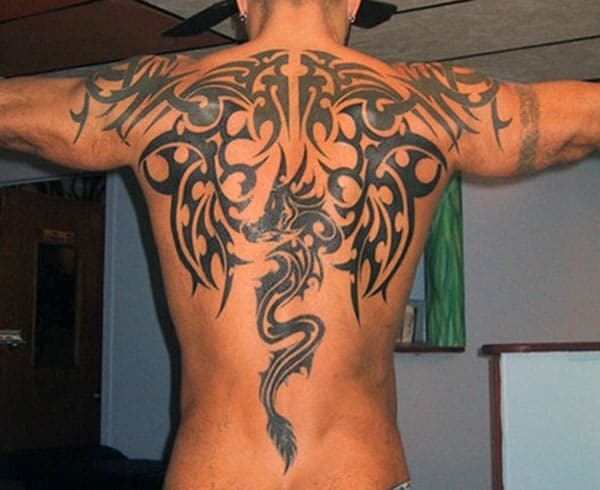 Fantastic Celtic tribal dragon tattoo ideas on back for Men