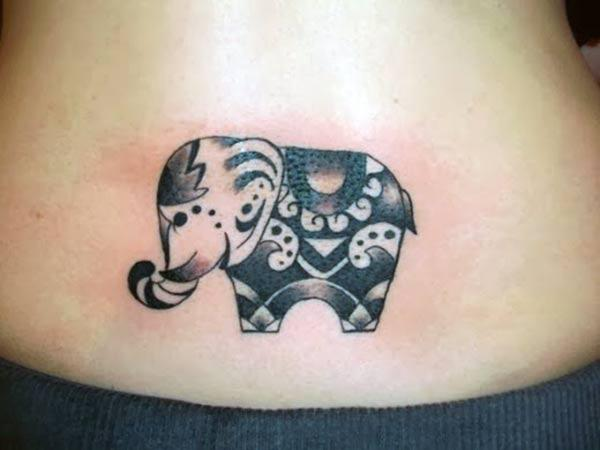 Cute baby elephant tribal tattoo ideas on back bottom for Girls