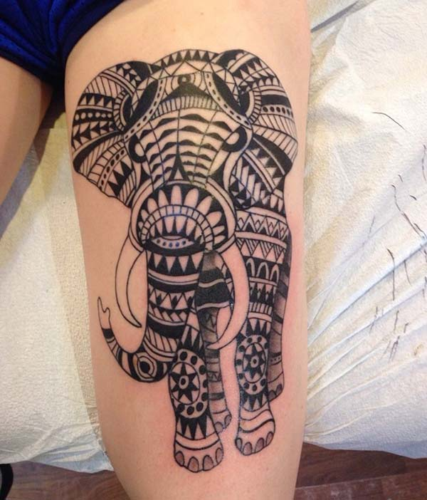 Awesome geometrical African elephant tribal tattoo designs on leg for Women