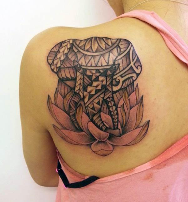 Heavenly tribal elephant on lotus tattoo design on back shoulder for Girls