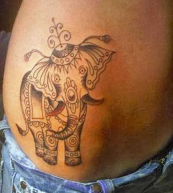 Spellbinding artistic tribal elephant tattoo ideas on belly side for Ladies