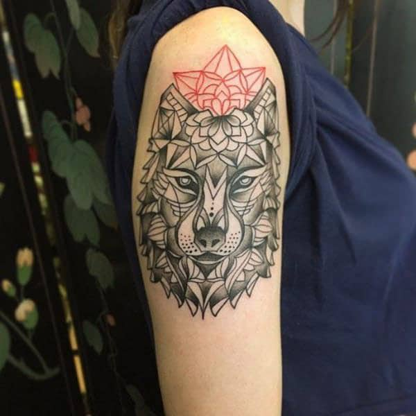 Fascinating mandala wolf face tribal tattoo designs on shoulder for modish Women