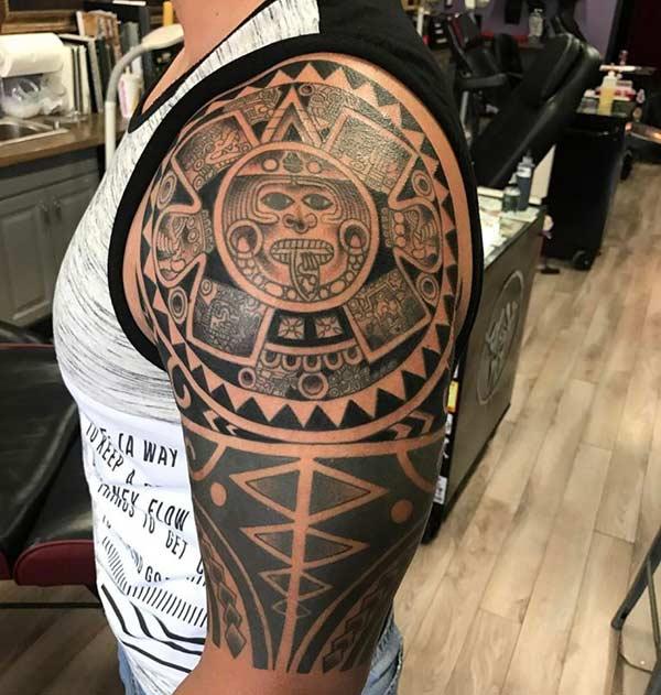 Impressive detailed Aztec tribal tattoo design on Arm for Men