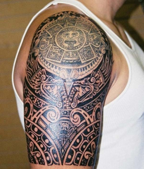 Spectacular creative Aztec tribal tattoo ideas on shoulder for Guys