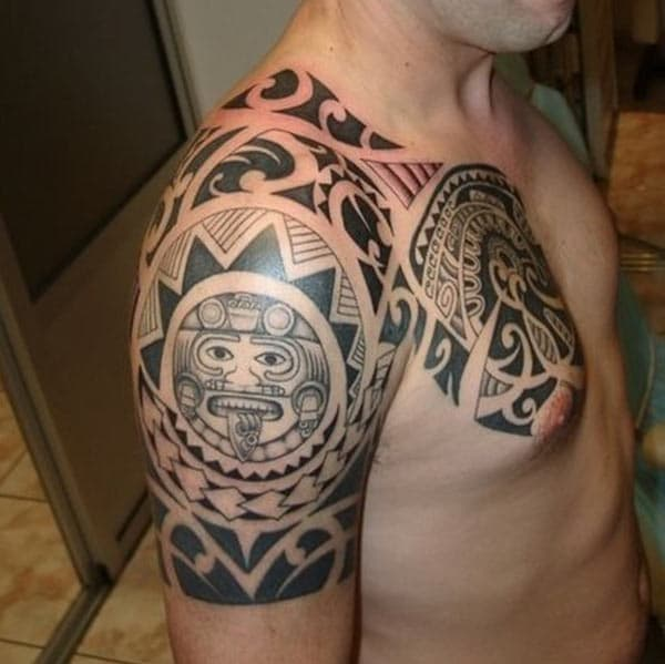 Aztec shoulder Eye catchy tribal tattoo ideas for stylish Men