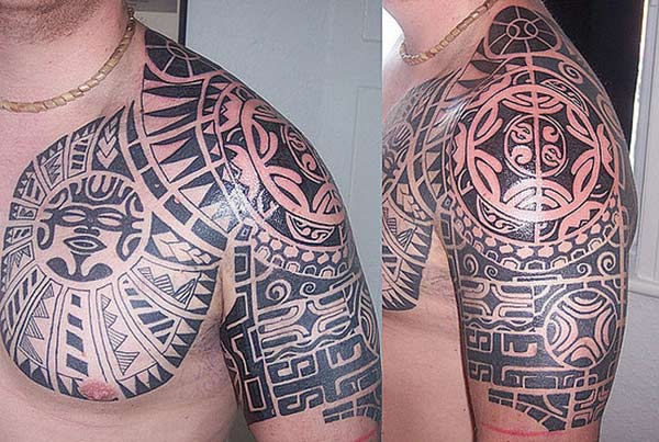 Exquisite Aztec tribal tattoo design on chest and shoulder for Guys