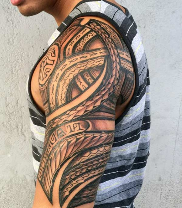 Beguiling red and black shades Hawaiian Tribal shoulder tattoo designs for Guys