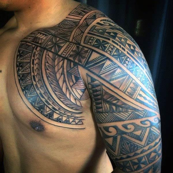 Alluring Hawaiian Tribal Tattoo designs on chest and arm for Men