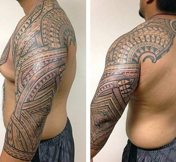 Attractive Samoan tribal tattoo ideas on full sleeve for Men