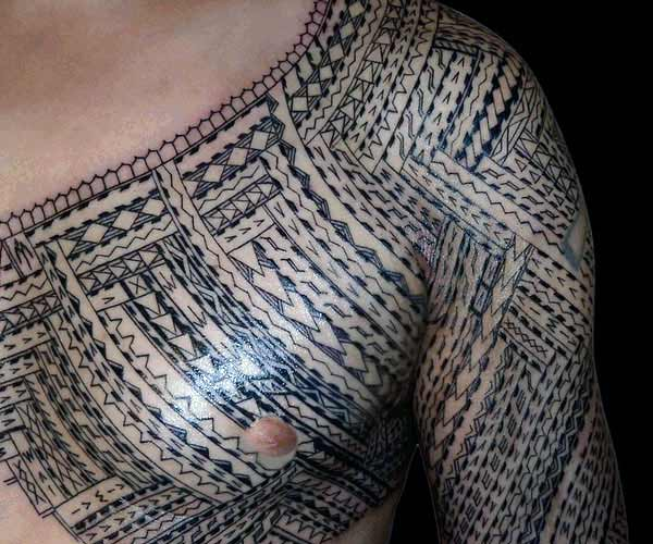 Simple and expressive Samoan tribal tattoo designs on chest and arm for Boys