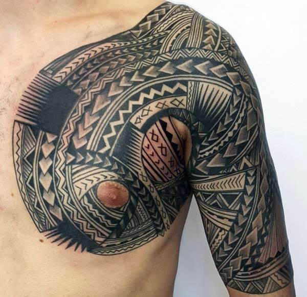 Astonishing Samoan tribal tattoo designs on front shoulder for Guys
