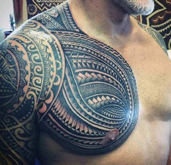 Prepossessing Samoan tribal tattoo for men on front shoulder and arm