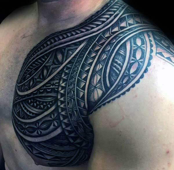 Ubanzi obuntshatsheli obumnyama be-Samoan tattoo ideas on front shoulder for Men