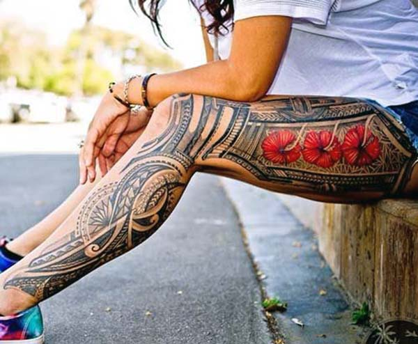 Jaw-dropping attractive red hibiscus Samoan tribal leg tattoo ideas for Girls and women