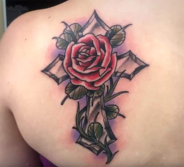 Magnificent lovely cross with rose tattoo ideas on back for women