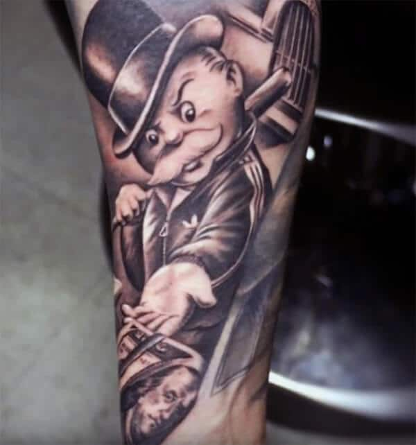 Striking realistic money tattoo ideas on arm for boys and men