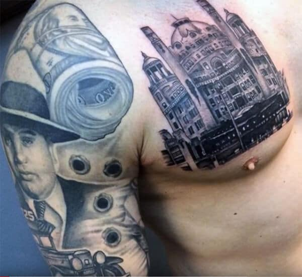 Magnificent creative piece of art tattoo of money roll, jeep and bullets on arm for Men