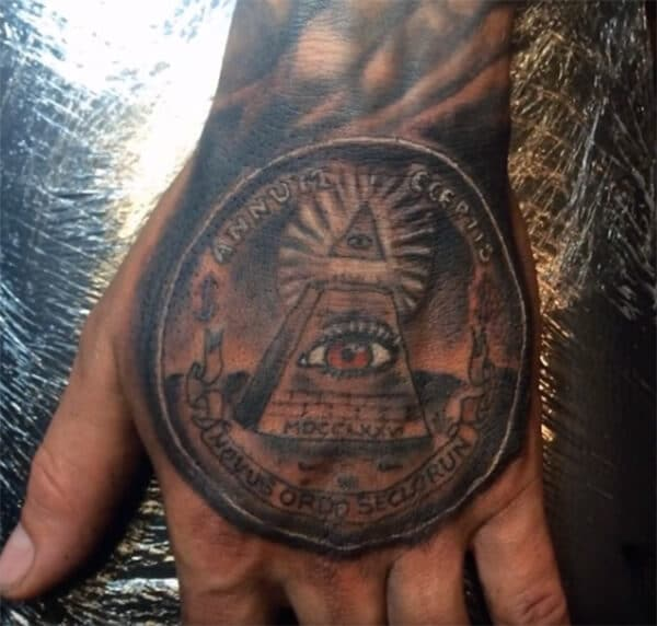 Majestic money tattoo ideas on palm for Guys