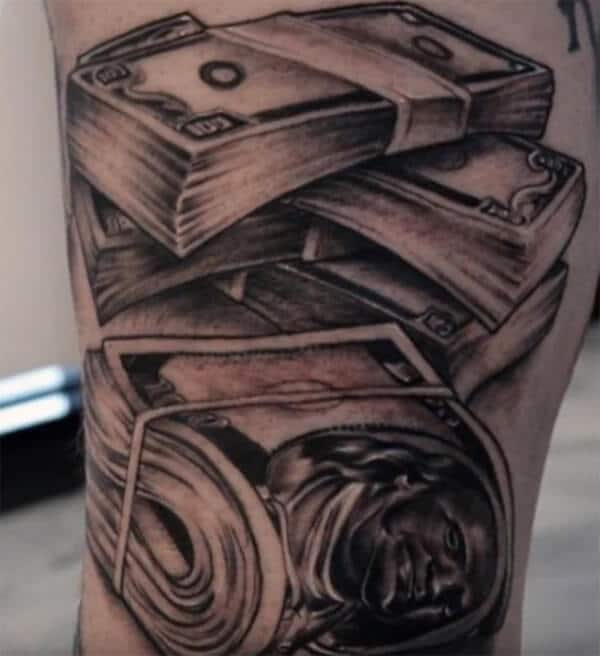 Smashing tattoo ideas on arm of bundles of money for Guys