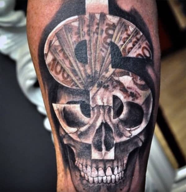 Insanely amazing dollar sign on skull tattoo ideas for Men on arm