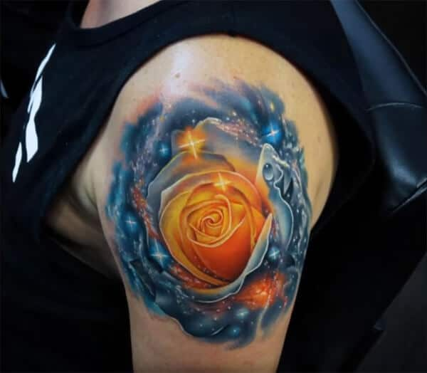 Fantastic 3D rose in universe tattoo ideas on shoulder for Boys and guys
