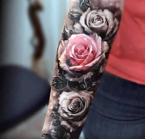 Captivating black and white rose tattoo ideas on arm for Men