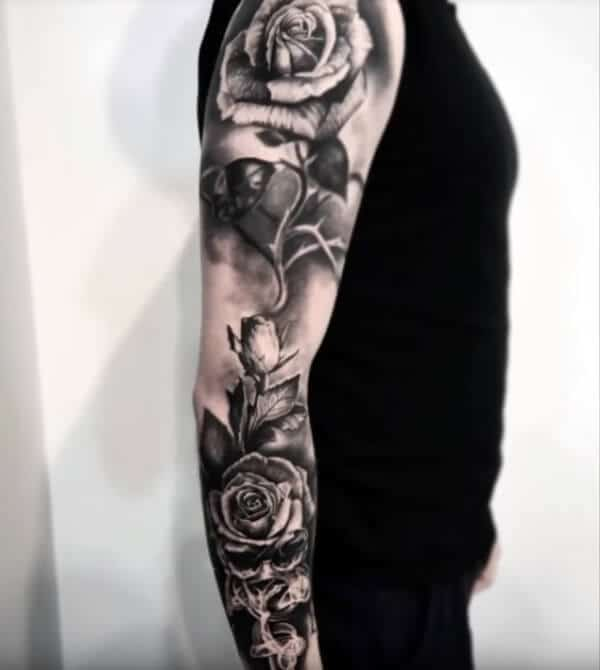 Enchanting black and white rose tattoo ideas on full sleeve for Guys