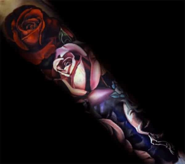 Jaw-dropping 3D red and white rose tattoo design on forearm for Men