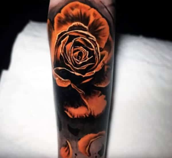 Attractive bright rose tattoo ideas on arm for Men