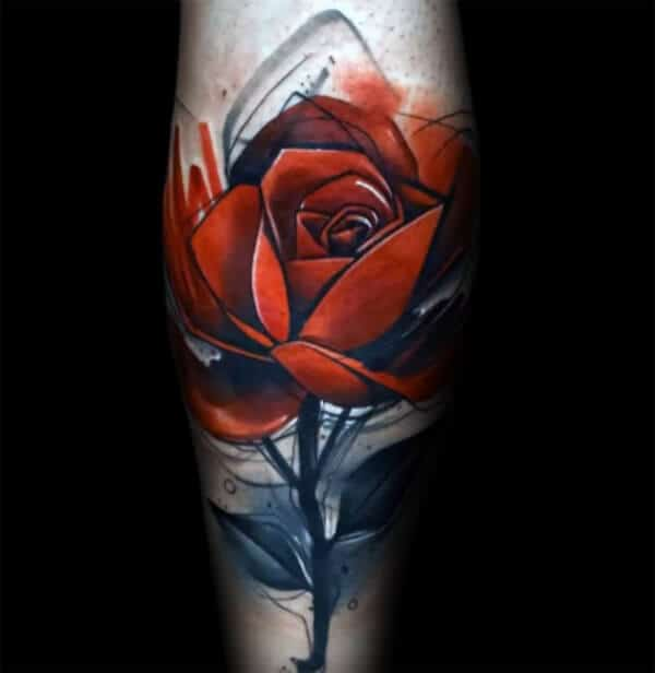 Brilliant rose sketch tattoo ideas on leg for Boys and men