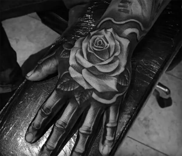 Marvelous 3D rose on skeleton tattoo ideas on hand for Men