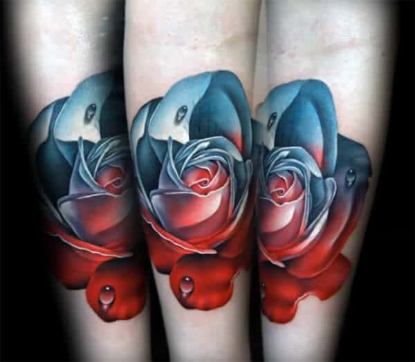 Amazing red blue rose tattoo designs on forearm for Boys