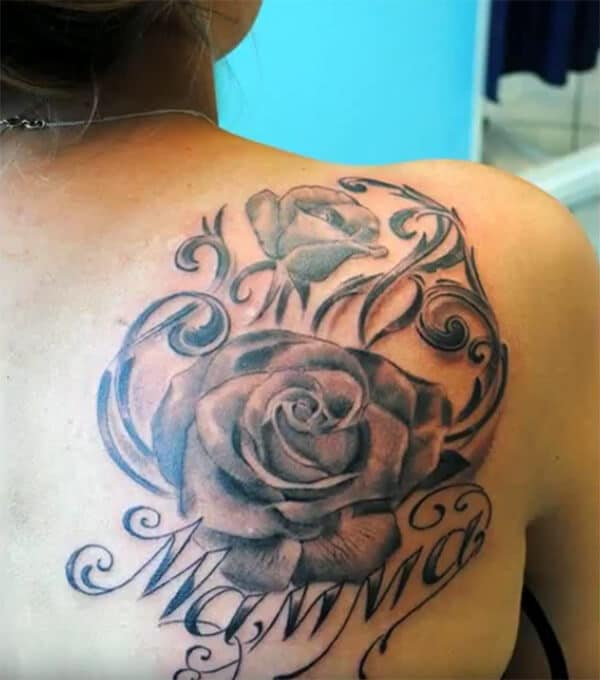 Beautiful rose with mamma wordings tattoo ideas on back shoulder for Girls