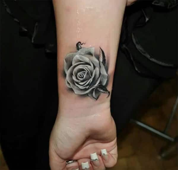 Lovely 3D rose tattoo designs on wrist for Women