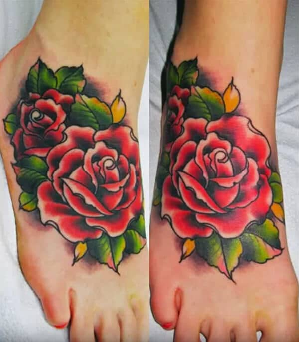 Fantastic red rose tattoo design on ankle for Girls