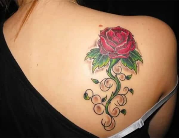 Divine rose with leaves tattoo designs on back for Ladies