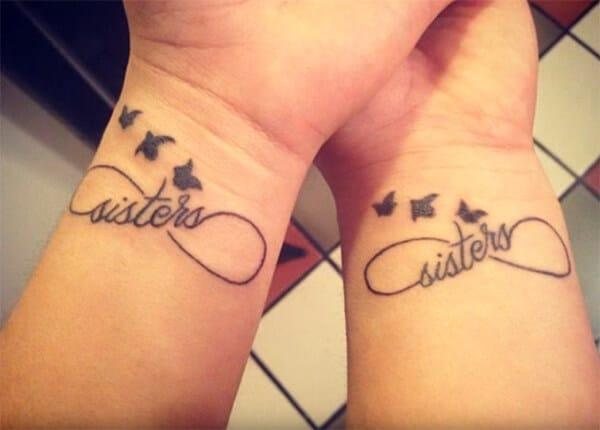 Lovely sisters tattoo with birds infinite loop designs for Women on wrist