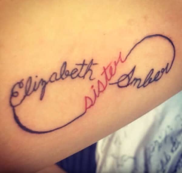Simple Sister names infinite loop tattoo ideas for ladies