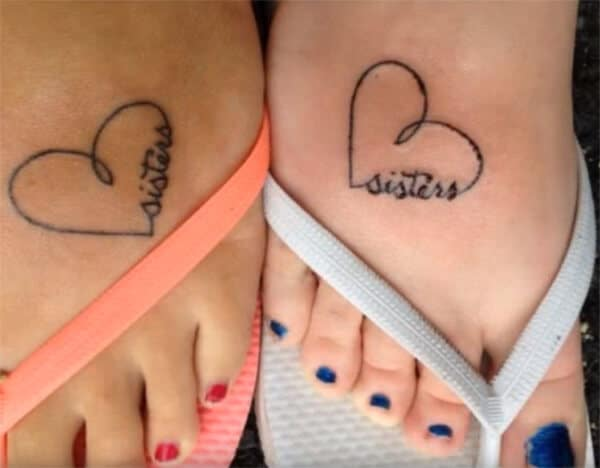 Simple cute heart shaped sisters word tattoo ideas for Girls on feet