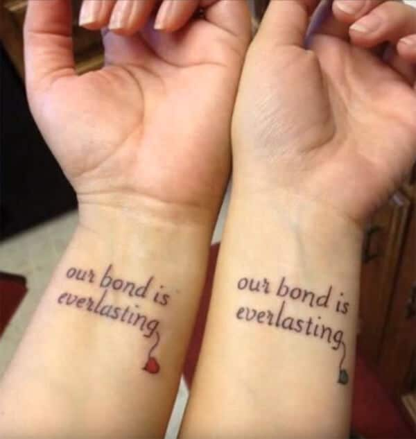 Sweet sisters wordings tattoo ideas on wrist for ladies