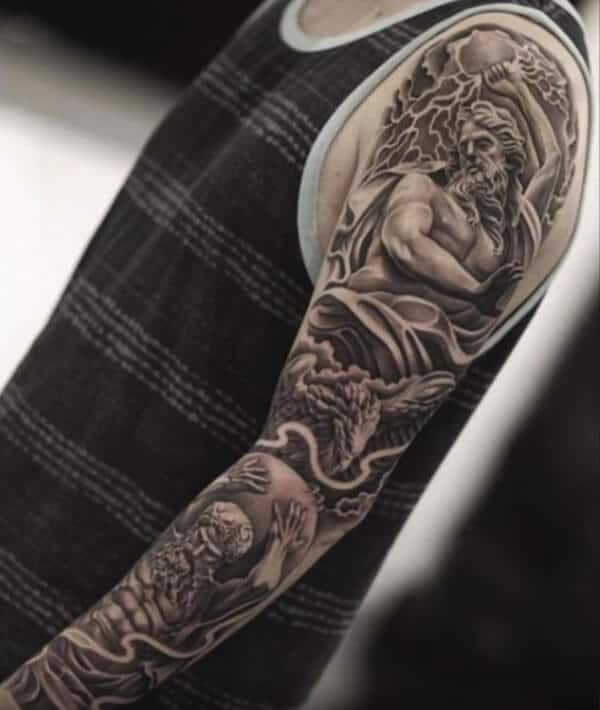 Awesome mythology depicting sleeve tattoo ideas for Guys