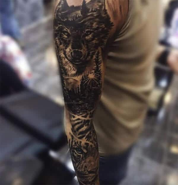 Arresting wolf and tiger sleeve tattoo ideas for Men