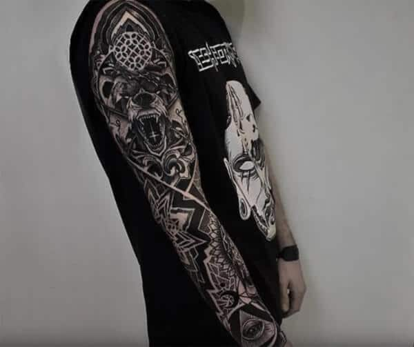 Incredibly contrasting sleeve tattoo ideas for Men