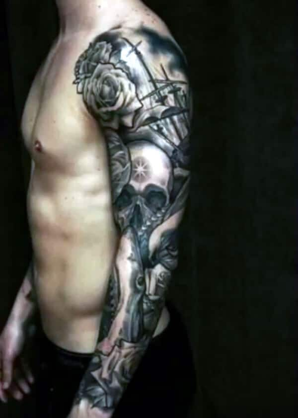 Impressive skull and sea sleeve tattoo ideas for Guys