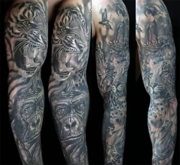 Extraordinary wild animals sleeve tattoo ideas for Men