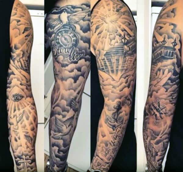 Stunning heavenly sleeve tattoo designs for Boys