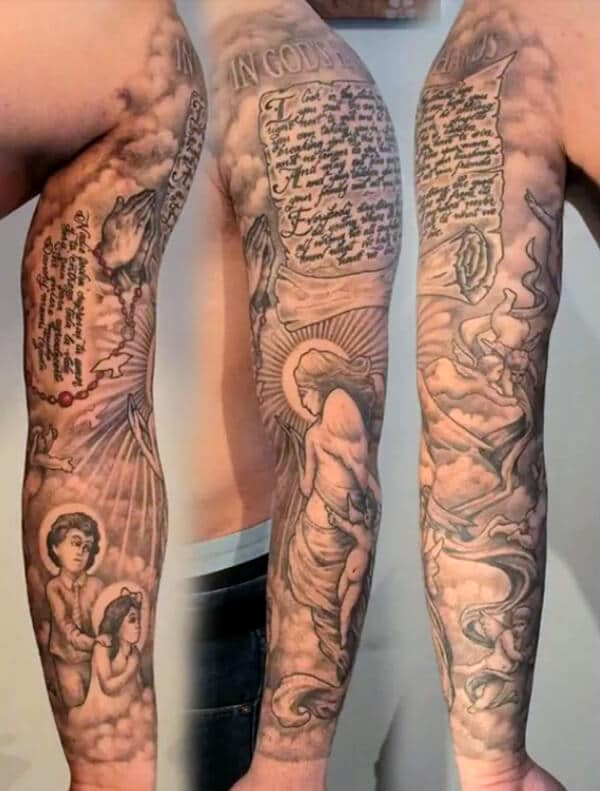 Delightful heavenly sleeve tattoo ideas for Guys