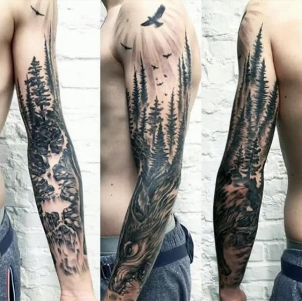 Aesthetic looking forest sleeve tattoo ideas for Men