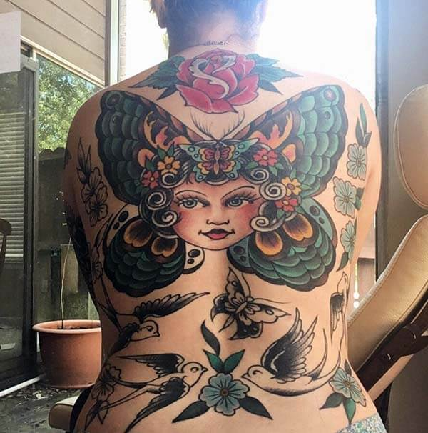 mind blowing tattoo art designs on back for girls and ladies